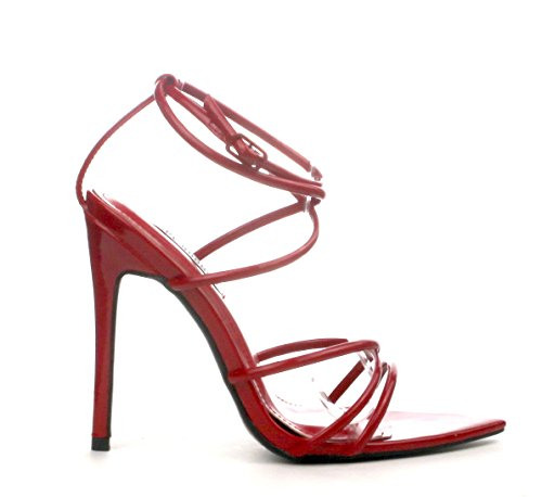 ee2522973c6b Michelle Parker Cape Robbin ADA Red Super Strappy Pointy Open Toe Ankle  Strap Stiletto Heel
