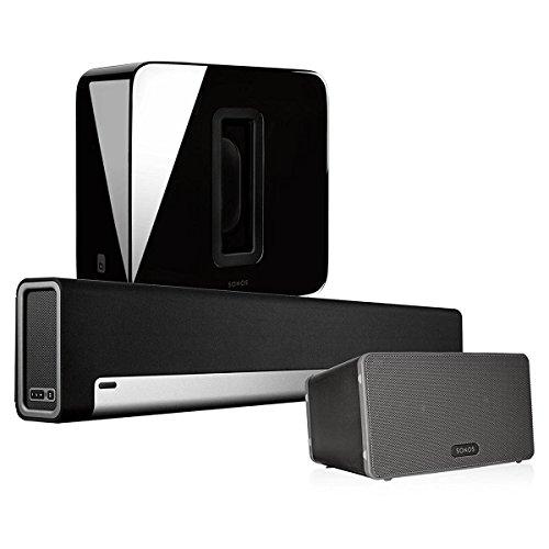Sonos Multi-Room Digital Music System Bundle (PLAYBAR, Wireless Subwoofer - Black & PLAY:3 Speaker - Black) (Sonos Surround)