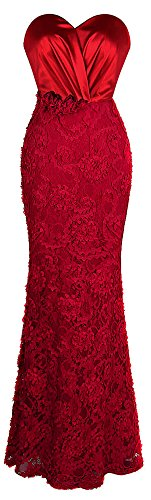 Red Appliques Polyester Heart (Angel-fashions Women's Sweetheart Ruched Applique Sheath Long Wedding Dress Medium)
