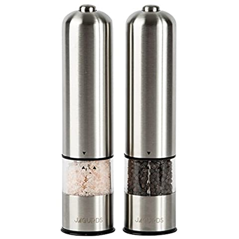 Jagurds Electric Salt and Pepper Mill Set - Premium Stainless Steel One-Handed Spice Grinders with Light, Automatic Battery Operated with Adjustable Coarseness for that Perfect Savory - Stainless Steel Electric Pepper Mill
