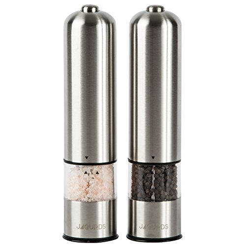 (Jagurds Electric Salt and Pepper Mill Set - Premium Stainless Steel One-Handed Spice Grinders with Light, Automatic Battery Operated with Adjustable Coarseness for That Perfect Savory)
