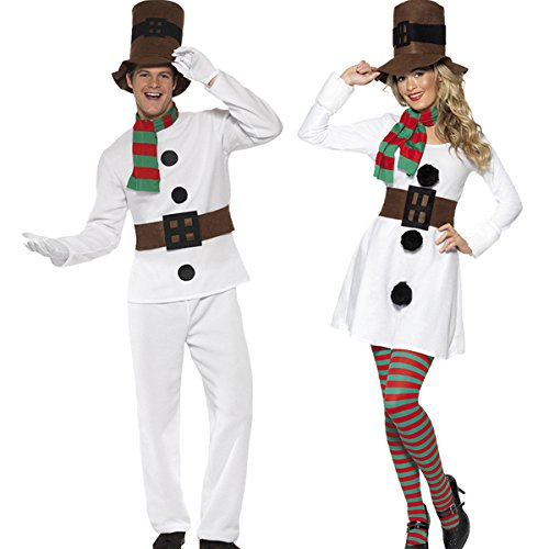 Couples Cosplay Costumes (Christmas Snowman Costume For Mens And Womens Couples Christmas Cosplay Costume)