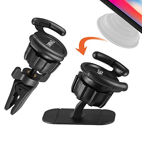 Universal Air Vent Car Mount and Dashboard Sticker Holder(2 Pack) - KSWNG 360° Rotation Clip Car Mount Phone Holder with Adjustable Switch Lock for All Smartphones GPS Navigation Yellow