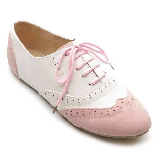 Ollio Women Shoes Classic Lace Up Dress Low Flat Heel Oxford M1914(8.5 B(M) US, Pink-White)