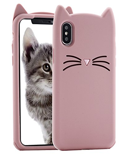 Price comparison product image Cat iPhone X Case, Miniko(TM) Cute Kawaii Funny 3D Pink MEOW Party Bread Cat Kitty Whiskers Protective Soft Rubber Case Skin for Apple iPhone X 2017 Teen Girls Women Girly Kid
