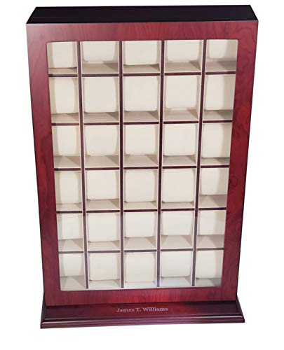 30 Piece Cherry Wood Personalized Watch Display Wall Hanging Case and Storage Organizer Box and Stand ()