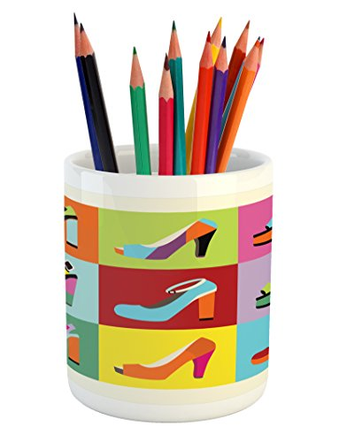 Pencil Stiletto - Lunarable Fashion Pencil Pen Holder, Retro Funky Stiletto Heels and Wedge Shoes Design in Pop Art Style Colorful Tiles, Printed Ceramic Pencil Pen Holder for Desk Office Accessory, Multicolor