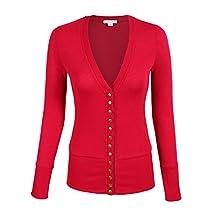 Azkara Women's Deep V Neck Solid Button Down Long Sleeve Knit Cardigan Sweater