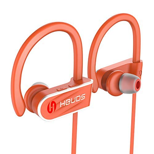 Bluetooth Headphones,HBUDS Waterproof IPX7 Wireless Sports Earbuds,Deep Bass HiFi Stereo In-Ear Earphones Built-in Mic, 8-9 Hrs Playtime Noise Canceling Headsets Orange(Memory Ear Tips & Fast Pairing)