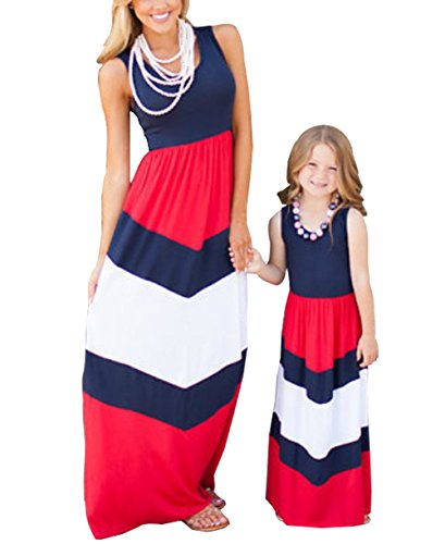 Dress Me Clothing (Summer Cute Mommy and Me Boho Striped Chevron Maxi Dresses (Mom 8-10, Navy and)