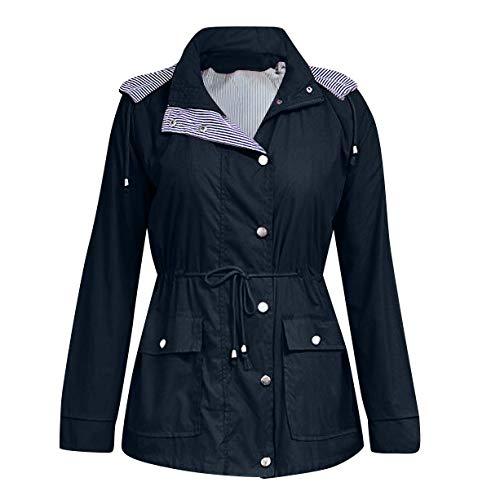 Womens Rain Waterproof Jacket Ladies Hooded Coats Raincoat Windproof Overcoat