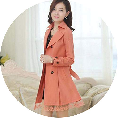 1PC Trench Coat for Women Spring Coat Double Breasted Lace Casaco Feminino Autumn Outerwear Abrigos Mujer Z015,Orange,M
