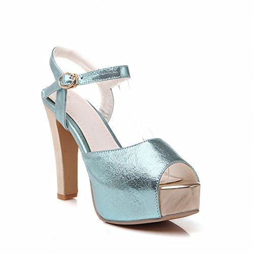 Carol Skor Chic Kvinna Spänne Mode Glänsande Partysommar Charm Peep-toe Plattform Heeled Sandals Blå