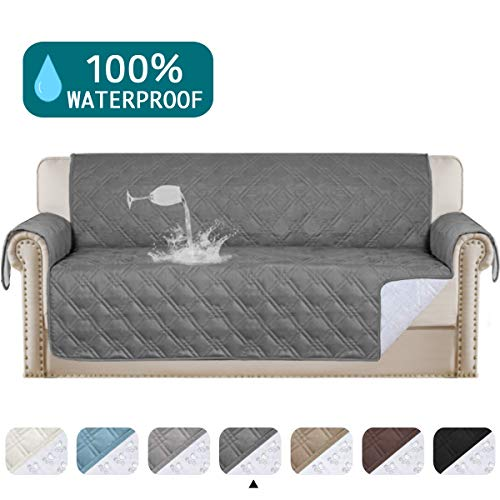 "Turquoize 100% Waterproof Couch Cover Quilted Sofa Protector Couch Covers for 3 Cushion Couch Waterproof Gray Sofa Cover for Dogs Quilted Furniture Covers Non Slip Cover for Pets (Sofa 68"", Gray)"