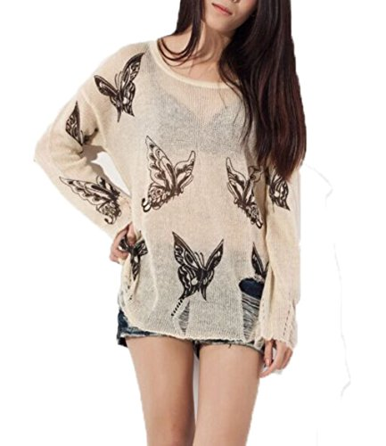 Women Long Sleeve Loose Lightweight Butterfly Hole Hollow Knitted Pullovers Sweater Tops