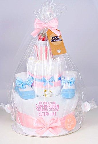 Trend Mama Windeltorte Cupcake rosa-hellblau M/ädchen Wer braucht schon Superhelden wenn man so coole Eltern hat