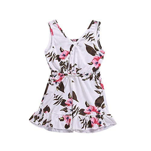 NUWFOR Newborn Kids Baby Girl Floral Print Romper Jumpsuit Tops Sunsuit Outfits (White,3-4 Years) ()