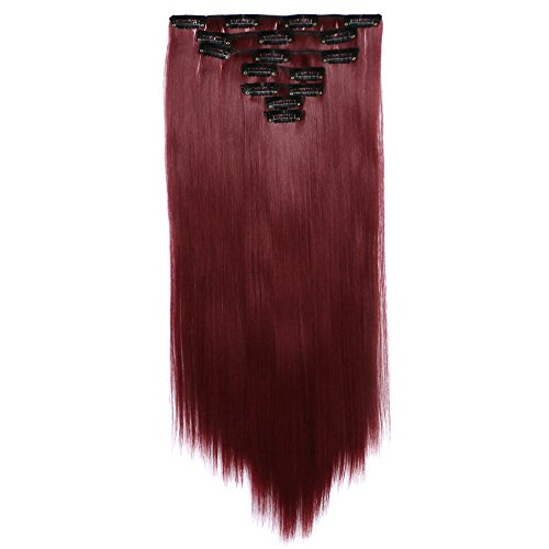 Long Straight Full Head Synthetic Hair Extension 7 Pieces 16 Clips Hairpieces 22