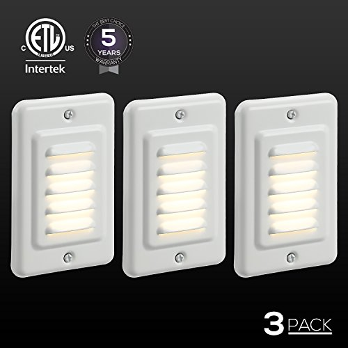 TORCHSTAR Indoor/Outdoor LED Step Light, IP65 Waterproof Mini Wall Mount Stair Light, ETL Certified, 5 Years Warranty, Pack of 3