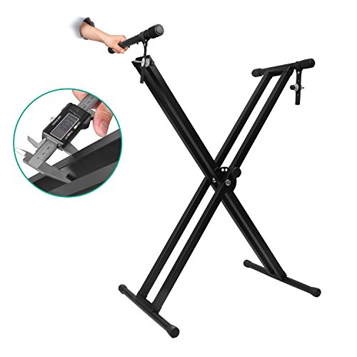 Mugig Keyboard Piano Stand Double Braced X-Style with Locking Straps Double 10 inches Thickening Brace Collapsible Folds Flat for Easy Storage and Transport (X-style Brace Double)