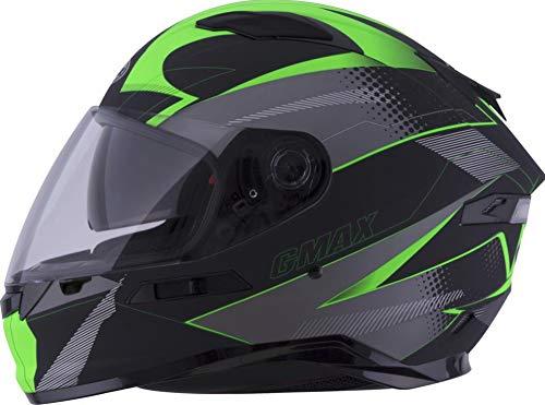Gmax FF98 Apex Helmet Matte Black/Hi-Vis Green (Black, Large)
