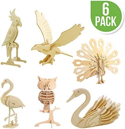 [해외]Hands Craft DIY 3D 나무 퍼즐 번들 팩 / Hands Craft DIY 3D Wooden Puzzle Bundle Set, Pack of 6 Bird Animals Brain Teaser Puzzles | Educational STEM Toy for Kids and Adults | Safe and Non-Toxic Easy Punch Out Premium Wood | (JP2B4)