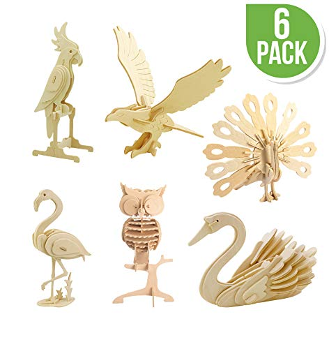 Hands Craft DIY 3D Wooden Puzzle Bundle Set, Pack of 6 Bird Animals Brain Teaser Puzzles   Educational STEM Toy for Kids and Adults   Safe and Non-Toxic Easy Punch Out Premium Wood   (JP2B4)