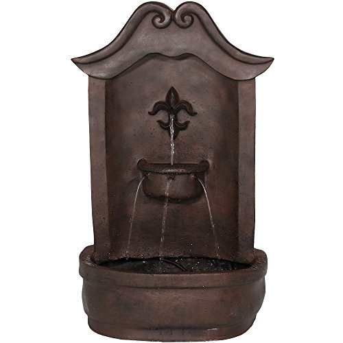 Sunnydaze Flower of France Outdoor Wall Water Fountain, with Electric Submersible Pump, 29 Inch, Iron Finish