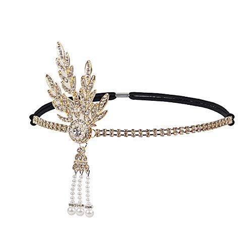 Vintage Flapper Headband Daisy Buchanan Costume Great Gatsby Leaf Tiara Headpiece 1920's Fancy Hair Accessory (Golden)