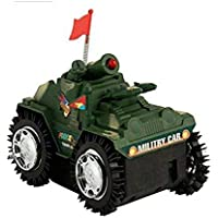 HK Toys Battery Operated Military Shade Tumbling Tank with Red Top Flashing Light Features Toys for Kids(Battery not Included)