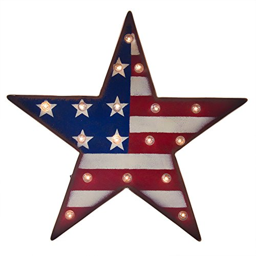 Glitzhome Patriotic Marquee LED Lighted Star Sign Wall Decor Battery Operated