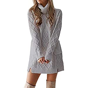 iLUGU Charming Mini Dress for Women Long Sleeve Turtleneck Pocket Winter Warm Sweater Knitted Geometric Patterns Gown