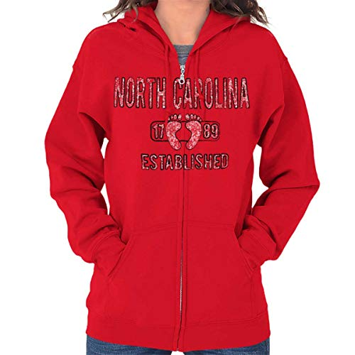 (North Carolina Tar Heel State NC Americana Zip Hoodie Red)