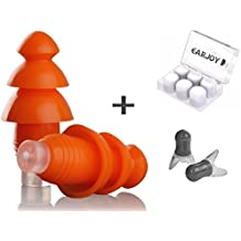 Noise Cancelling Ear Plugs By EarJoy - For sleeping swimming musicians. Earplugs sound blocking. Reusable. For concerts shooting swim sleep. Silicone base. Best sound reduction.