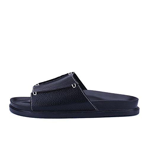 Neue große Pantoffeln Studenten rutschfeste dicke untere Sätze von Füßen Mode neue Freizeit cool Sandalen männlich. Schwarz 1.UK = 6.5.UR = 40