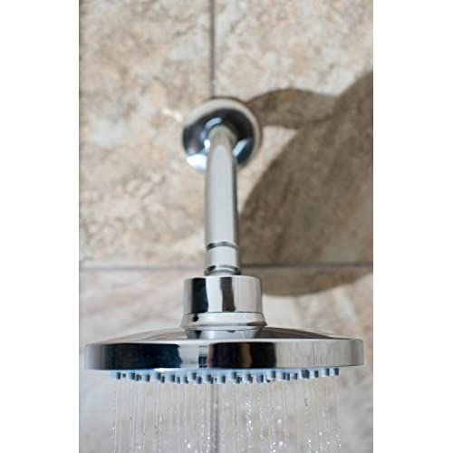 "outlet 6"" Rainfall High Pressure Shower Head by HappyMoon Bath Essentials™. Adjustable Showerhead With Wide Shower Coverage. Highly Reflective Chrome Design with Cool Grey Self Cleaning Silicone Nozzles"