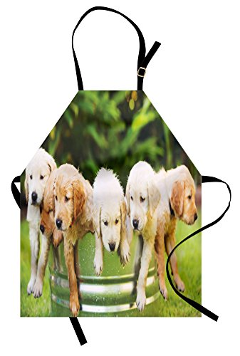 Lunarable Dog Lover Apron, Group of Golden Retriever Puppies in The Yard Spring Friendly Family, Unisex Kitchen Bib Apron with Adjustable Neck for Cooking Baking Gardening, Green Beige