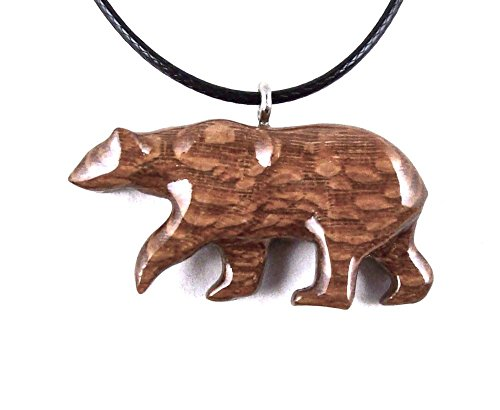 Polar Bear Pendant Necklace Animal Jewelry Hand Carved in Lacewood Polar Bear Wood