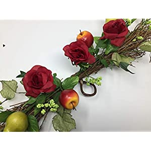 """Wedding Flowers 31"""" Open Rose Fruits Swag Artificial Silk Restaurant Store Home Office Decoration 89"""