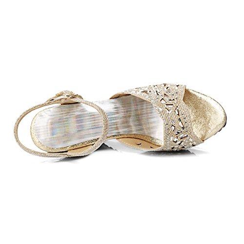 Sandales Hauts Elegantes Brillant à Femmes Cheville Ouvert Talons Creux Bride Compensees Confotables Bout Or et UH FqTw5gaxx