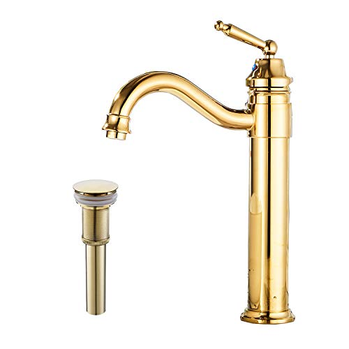 (GGStudy Tall Body Single Handle One Hole Bathroom Vessel Sink Faucets Gold Finish With Pop Up Drian Without Overflow)