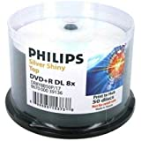 Philips Duplication Grade Shiny Silver 8X DVD+R Media Double Layer DL 8.5GB 50 Pack in Cake Box (DR8Y8B50P/17)