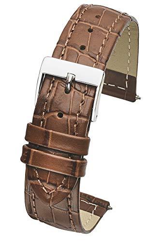 Genuine Leather in Alligator Grain Watch Band - 14mm -Brown ()