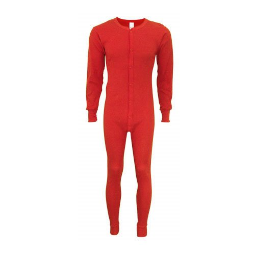 Indera Men's Tall Cotton 1 x 1 Rib Union Suit, Red, XX-Large by Indera