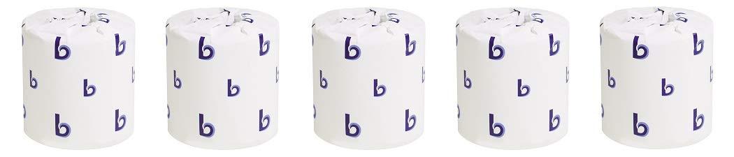 Boardwalk BWK6144 Two-Ply Toilet Tissue, White, 4'' x 3'' Sheet, 400 Sheets per Roll (Case of 96 Rolls) (5-(Pack))