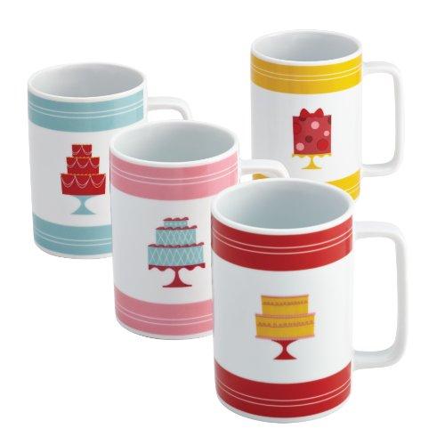Cake Boss Serveware 4-Piece Porcelain Mug Set,
