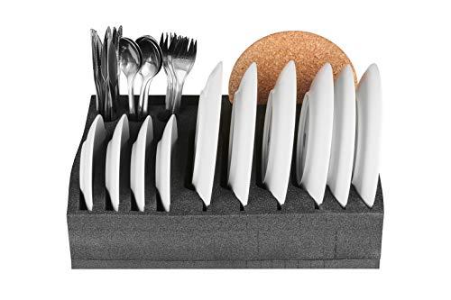 41sFJUNlDoL SCHAUMEX® Tellerhalter und Besteckhalter mit Platz für 12 Teller - kleine und große Teller auch Suppenteller - Für…