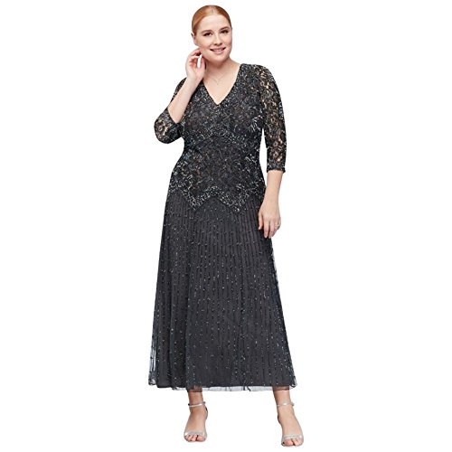 allover Mixed Beading 3/4-Sleeve Plus Size Mother Of Bride/Groom Gown Style.