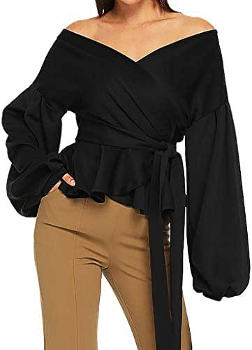 Sweatshirt Dress Women Fashion Casual Long Sleeve Strapless V-Neck Lantern Sleeve Bow Belt Bandage Tops Shirt