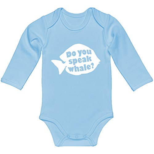 Indica Plateau Baby Romper Do You Speak Whale Light Blue for 6 Months Long-Sleeve Infant -